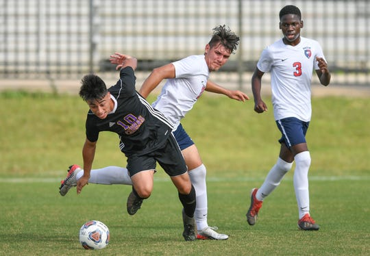 Fort Pierce Central forward Jose Escobar chases the ball in the Region 3-7A quarterfinal against St. Lucie West Centennial on Feb. 12, 2020.