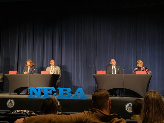 El Paso County district attorney candidates participated in the Northeast Business Alliance district attorney candidate debate on Tuesday night, Feb. 11, 2020, at El Paso Community College's Transmountain Campus. The candidates are Yvonne Rosales, from left, Roger Montoya, James Montoya and Karen Dykes.