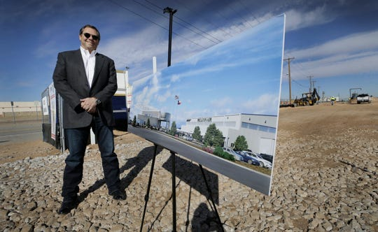 Paul Foster stands on the construction site for his latest business venture, a Million Air franchised private jet terminal being built at the El Paso International Airport.