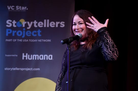 """Michelle Rogers shares a story during the Ventura Storytellers Project night of """"Love, Romance and Other Disasters"""" at the High Street Arts Center in Moorpark on Wednesday."""