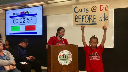 Parents, teachers and others complained in a February meeting about planned budget cuts at the Santa Paula Unified School District.