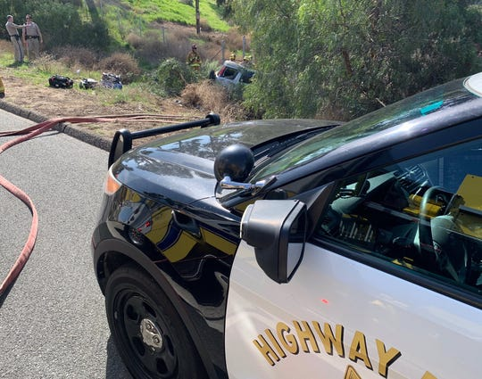 The driver of a vehicle that ran off the side of Highway 23 outside Moorpark Thursday suffered moderate injuries, according to California Highway Patrol officials.