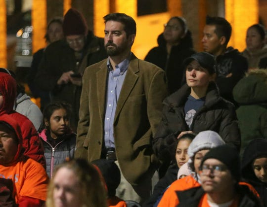 """Odyssey Charter School board president Josiah """"Joe """" Wolcott (left) and board member Alisa Moen attend a rally Wednesday in support of Academia Antonia Alonso Charter School and Delaware's Latino community after Odyssey board members made racially insensitive comments."""