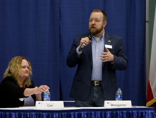 Josh Winegarner speaks at a candidate forum for the 13th District Congressional race sponsored by the Wichita County Republican Party Wednesday, Feb. 12, 2020, in the Ray Clymer Exhibit Hall at the MPEC.