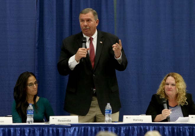 Lee Harvey speaks at a candidate forum for the 13th District Congressional race sponsored by the Wichita County Republican Party Wednesday, Feb. 12, 2020, in the Ray Clymer Exhibit Hall at the MPEC.
