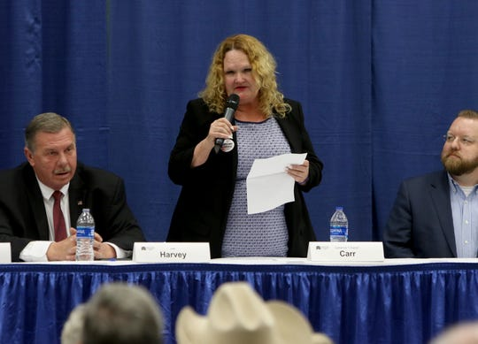 Catherine Carr speaks at a candidate forum for the 13th District Congressional race sponsored by the Wichita County Republican Party Wednesday, Feb. 12, 2020, in the Ray Clymer Exhibit Hall at the MPEC.