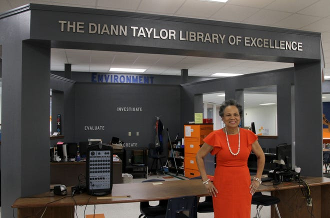 Diann Taylor was honored with a library dedication Wednesday, Feb. 12, 2020, at Kirby Middle School. The library is now named the Diann Taylor Library of Excellence.