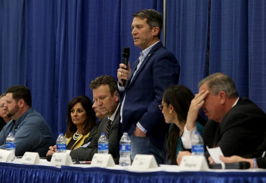 Ronny L. Jackson introduces himself at a candidate forum for the 13th District Congressional race sponsored by the Wichita County Republican Party Wednesday, Feb. 12, 2020, in the Ray Clymer Exhibit Hall at the MPEC.