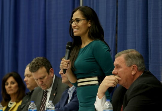 Asusena Resendiz introduces herself at a candidate forum for the 13th District Congressional race sponsored by the Wichita County Republican Party Wednesday, Feb. 12, 2020, in the Ray Clymer Exhibit Hall at the MPEC.