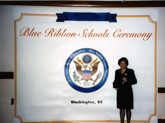 Diann Taylor at the Blue Ribbon Schools Ceremony in Washington D.C. in 2002.