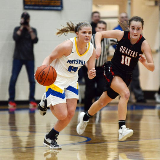 Bailee Smith, of Maysville, drives up court against New Philadelphia in a game earlier this season. The Maysville junior was named the Division I-II girls player of the year in District 12.