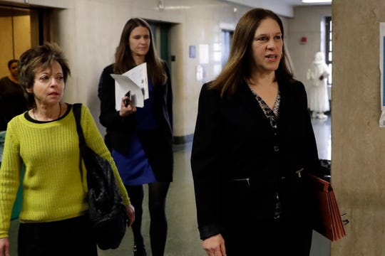 Manhattan Assistant District Attorney Joan Illuzzi, right, and Assistant DA Meghan Hast arrive for the defense's closing arguments at the Harvey Weinstein sex crimes trial in New York on Feb. 13.