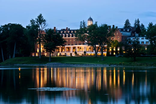"""<a href=""""https://www.historichotels.org/hotels-resorts/the-otesaga-hotel-and-cooper-inn""""><strong>The Otesaga Hotel and Cooper Inn</strong></a> (1909) &bull; Cooperstown, New York &bull; With its majestic views, The Otesaga Resort Hotel sits on the southern shore of Lake Otsego, known as Glimmerglass in James Fenimore Cooper&rsquo;s novels, which makes the lake a popular place to pop the question. The lake dock, with its quaint stillness and breathtaking views surrounded by century-old oak trees is a perfect place to get down on bended knee. There are some who would rather propose in an old-fashioned boat with the resort as a backdrop and others that would prefer to be on a horse-drawn carriage pulling up to the resort&rsquo;s front portico. Moreover, being the home of the nation&rsquo;s pastime makes Cooperstown and the Otesaga a unique venue for a baseball-themed engagement site."""