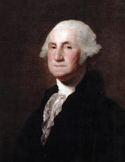 Portrait of George Washington by Gilbert Stuart.