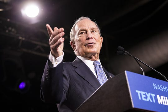 Democratic presidential candidate, Mike Bloomberg, former New York City mayor, delivers remarks during a campaign rally on Feb. 12 in Nashville, Tennessee.