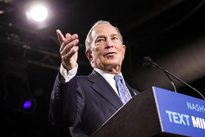 Democratic presidential candidate former New York City Mayor Mike Bloomberg delivers remarks during a campaign rally on February 12, 2020 in Nashville, Tennessee.