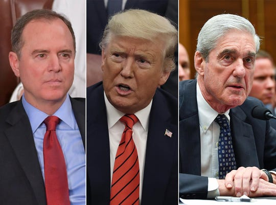 House Intelligence Committee Chairman Adam Schiff, President Donald Trump and former special council Robert Mueller.