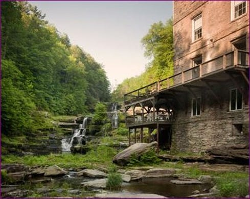 """<strong><a href=""""https://www.historichotels.org/hotels-resorts/ledges-hotel"""">Ledges Hotel</a></strong> (1890) &bull; Hawley, Pennsylvania &bull; This hotel&rsquo;s historic bluestone building and natural waterfall provide a dramatic backdrop for proposals.The tiered decks overlooking Paupack High Falls are one of the most romantic spots to pop the question at Ledges Hotel no matter the season. During winter, the frozen falls offer a stunning backdrop. Budding trees and rushing waters are a hallmark of spring. Summer by the waterfall is lush and cool, while fall foliage creates a vibrant landscape in autumn."""
