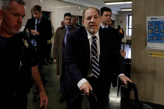 Harvey Weinstein arrives at court for the defense's closing argument at his sex crimes trial in New York on Feb. 13.
