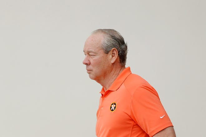 Jim Crane arrives to a press conference in West Palm Beach on Thursday.