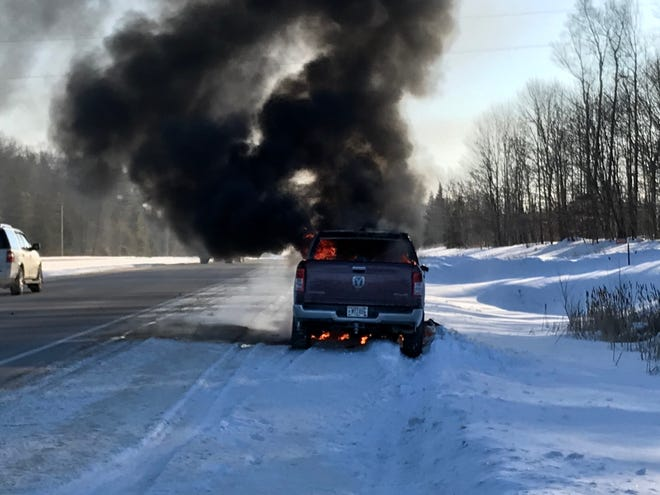 Authorities responded to a truck fire Friday morning on Highway 29.
