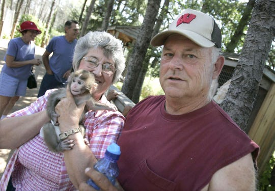 """Special Memories Zoo owners Dona Wheeler, left, stands next to her husband, Gene Wheeler. The Animal Legal Defense Fund is suing the owners of the zoo, claiming animals are kept in """"squalid conditions"""" and lack basic necessities."""