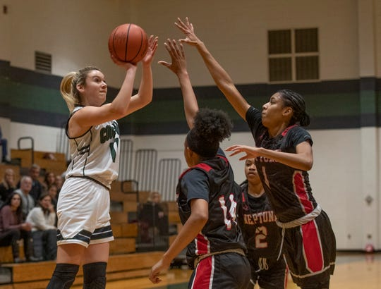 Colts Neck Camryn Foltz goes up with a second half shot. Neptune Girls Basketball defeats Colts Neck in Colts Neck, NJ on October 13, 2020.