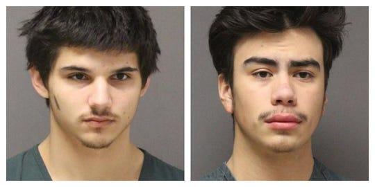 David Lavroff, 18, of Toms River, and James Clark, 18, of Brick, respectively, in their booking photos from the Ocean County Jail in Toms River.