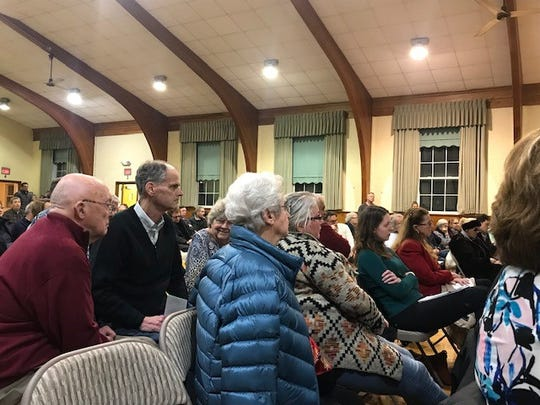 Crowd at Sacred Heart Church hall in Bay Head for special council meeting to discuss New Jersey Transit's substation project.