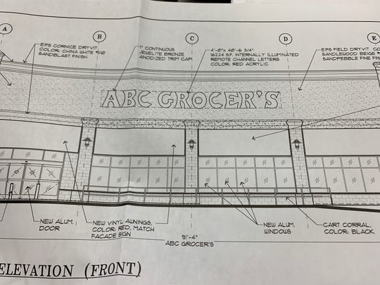 A picture of the facade design for a grocery store proposed for a former Walgreens on Route 9 in Freehold Township.