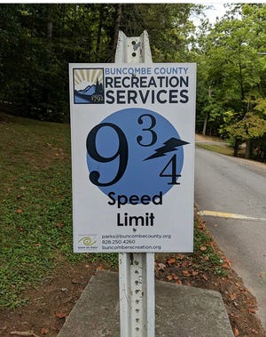 Lake Julian Park's speed limit signs are indeed a nod to the Harry Potter books and the magical 9 3/4 train platform that takes wizards to the Hogwarts school.