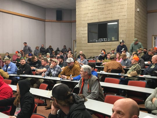 Some 75 people attended a meeting Feb. 13 at the Regional High Technology Center in Haywood County to discuss the idea of opening up Sunday hunting on state game lands.
