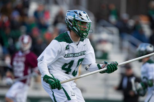 Binghamton men's lacrosse defenseman Dan Mottes takes the field against Colgate on Feb. 16, 2019.