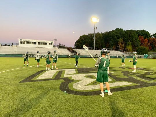 Members of the Binghamton men's lacrosse team practice on Oct. 11, 2019.
