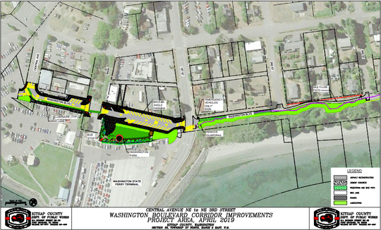 A new multiuse path being constructed in Kingston is shown in green in this map. Improvements to Washington Boulevard begin Tuesday to create better pedestrian, bicycle and vehicle circulation in the area.