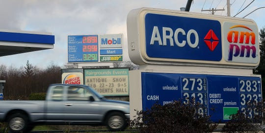 Arco and Mobil gas stations on the corner of Fairgrounds and 303 in Bremerton on Friday, Feb. 14. 2020.