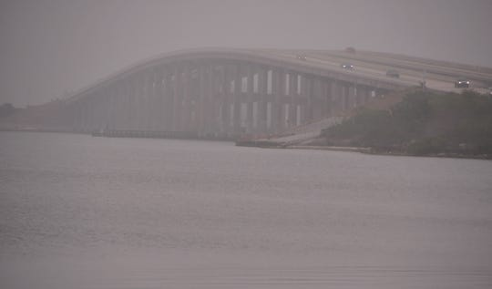 The bridge over the Indian River on Pineda Causeway disappeared into the fog Feb. 14, 2020.