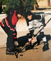 Street hockey in Phoenix: FLORIDA TODAY columnist Britt Kennerly, and her husband, Doug, are pictured in December 1993.