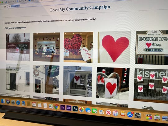 "Hearts appear across the state as part of the ""Love My Community Campaign"" of the Vermont League of Cities & Towns for Valentine's Day 2020."