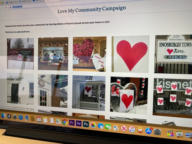 """Hearts appear across the state as part of the """"Love My Community Campaign"""" of the Vermont League of Cities & Towns for Valentine's Day 2020."""