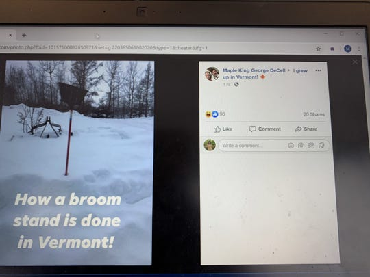 """Facebook user posts photograph in the """"I grew up in Vermont!"""" page of the viral internet broom challenge. Feb. 14, 2020."""