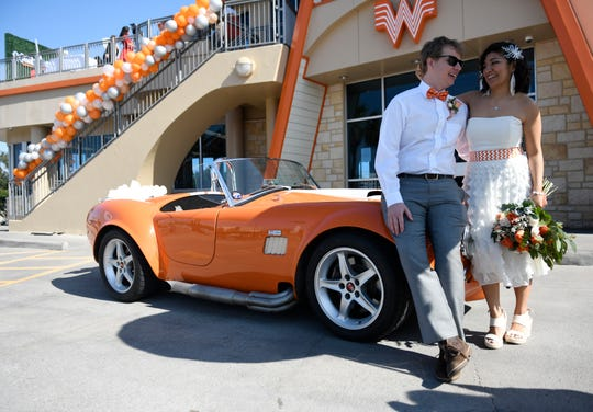 Dylan and Sharon Welch are married at Whataburger by the Bay, Friday, Feb. 14, 2020. The wedding took place on the balcony.