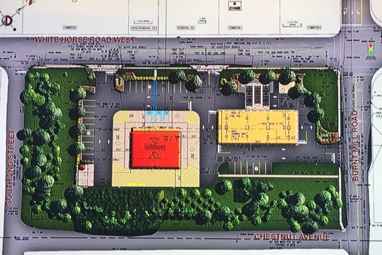 A proposed Wawa store and gas station would create three southbound lanes (top right) at the intersection with White Horse Road in Voorhees.