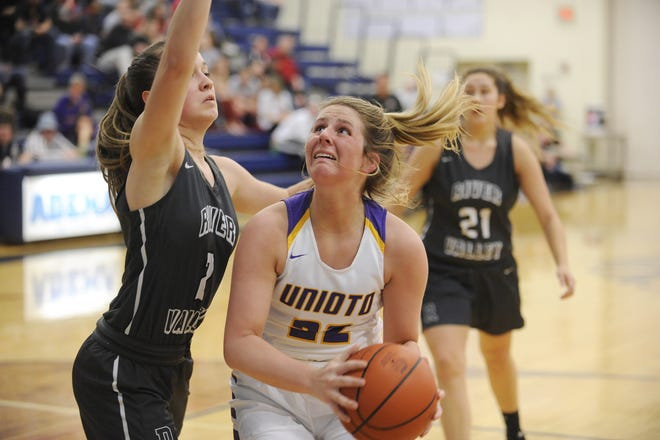Unioto's Cree Stulley goes up for a layup during a 54-42 win over River Valley in a D-II Sectional Final on Thursday Feb. 13, 2020 at Adena High School in Frankfort, Ohio.