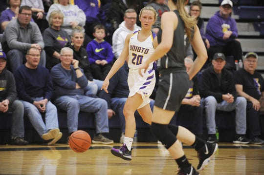 Unioto's Amber Cottrill brings the ball up the court during a 54-42 win over River Valley in a D-II Sectional Final on Thursday Feb. 13, 2020 at Adena High School in Frankfort, Ohio.