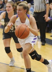 Unioto's Emily Coleman dribbles the ball along the baseline during a 54-42 win over River Valley in a D-II Sectional Final on Thursday Feb. 13, 2020 at Adena High School in Frankfort, Ohio.