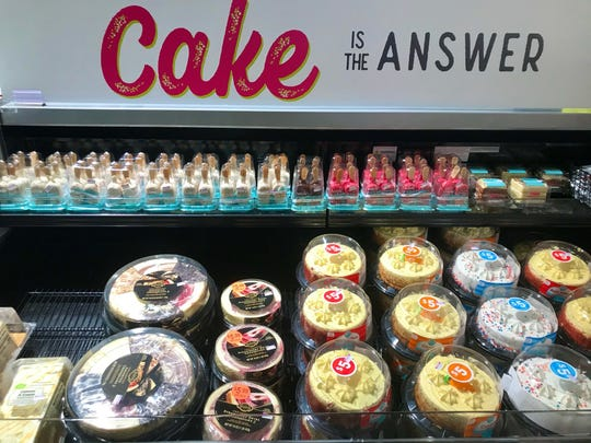 Can't settle on dessert after dinner? Cake could be the answer. Here's a variety, collected in a case at Kroger on the Rhine.