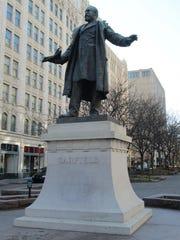 FEBRUARY 9, 2013: Statue of James A. Garfield at Piatt Park.