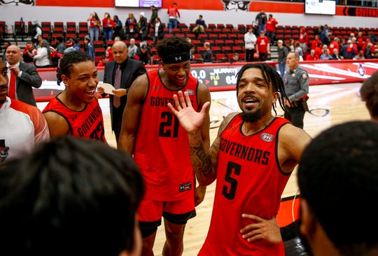 APSU's Jordyn Adams (5) dances in the center of a circle with his teammates after winning an OVC conference basketball game between the Austin Peay Governors and Murray State Racers at the APSU Dunn Center in Clarksville, Tenn., on Thursday, Feb. 13, 2020.
