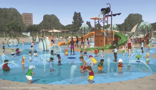 A rendering of the spray park at the Piscataway Community Center on Hoes Lane, Piscataway.